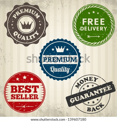 Vintage quality stamps label on old paper isolated from background. Vector illustration. Layered. - stock vector