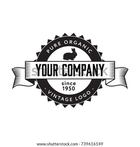 Vintage Rabbit Logo Badge Flat Isolated Stock Photo Photo Vector