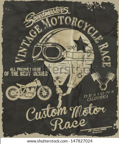 vintage race car and motorcycle for printing.vector old school race poster.retro race car OR MOTORCYCLE set - stock vector