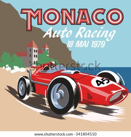vintage race car for printing.Monaco retro car race. - stock vector