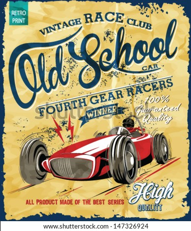 vintage race car for printing.vector old school poster. - stock vector