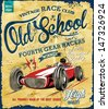 vintage race car for printing.vector old school race poster.retro race car set - stock