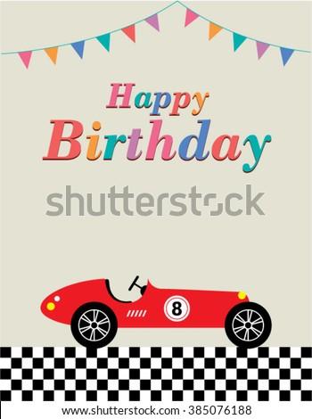 Vintage Race Car Happy Birthday Greeting Stock Vector