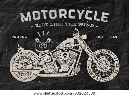 Vintage race motorcycle old school style. Black and white poster, print for t-shirt. Vector illustration - stock vector