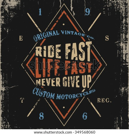 vintage racer label design - stock vector