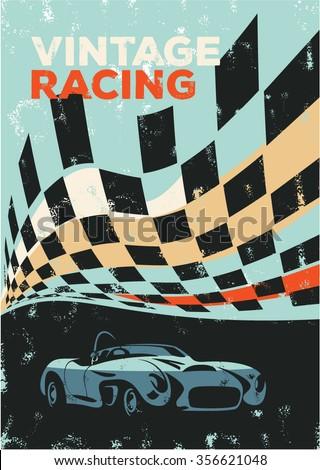 Vintage racing car poster, sport car - stock vector