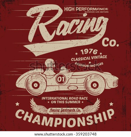 vintage racing car print design - stock vector
