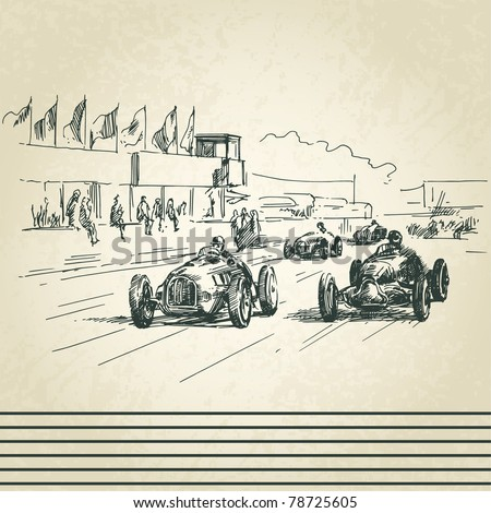 vintage racing cars - stock vector
