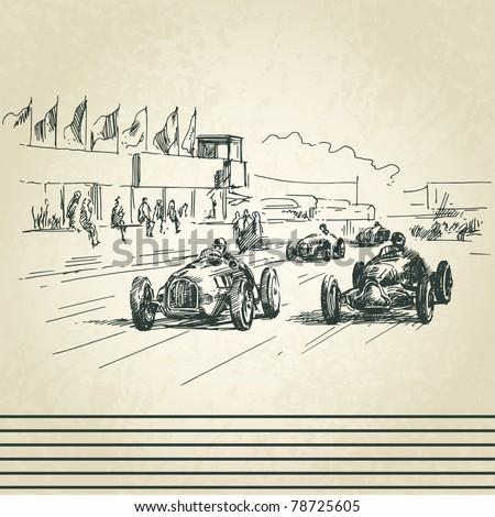 vintage racing cars - stock vector