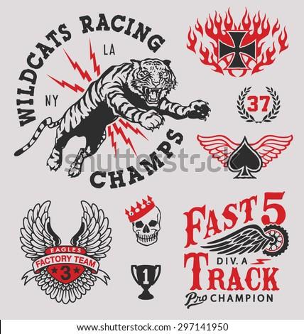 Vintage racing emblem graphics - stock vector