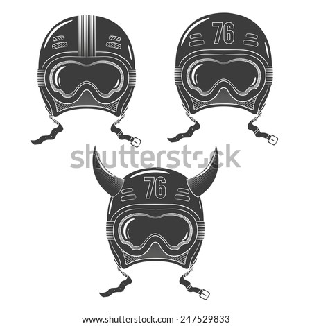Vintage Racing Snowboard Helmet With Goggles Painted In The Style Of Tattoos Stamp