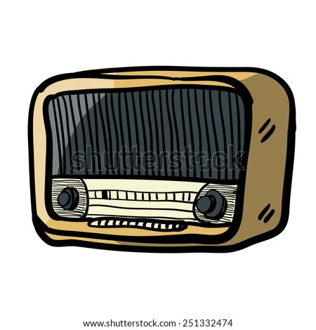 Vintage radio.Children's sketch. Radio cartoon. Color image. - stock vector