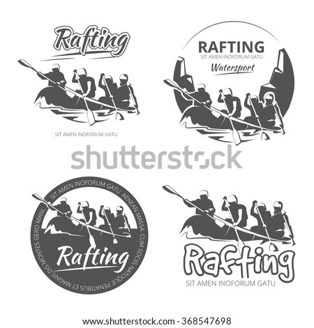 Vintage rafting, canoe and kayak vector labels, emblems and badges set. Canoe outdoor activity on river illustration - stock vector