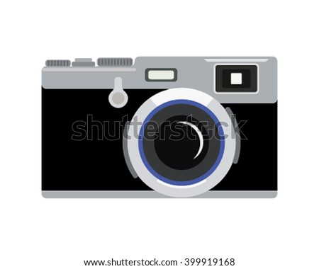 vintage rangefinder film camera. Retro camera in a flat style. Vector illustration - stock vector