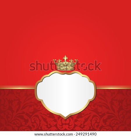 vintage red background with crown and frame - stock vector