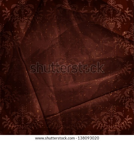 Vintage red brown floral background - stock vector