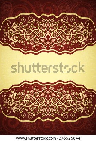 Vintage red floral background. - stock vector