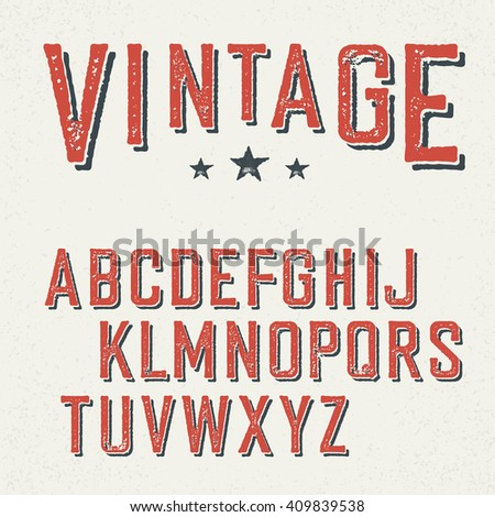 Vintage red grunge and shadowed alphabet letters. - stock vector