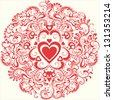vintage red heart in ornamental flourish circle - vector - stock vector