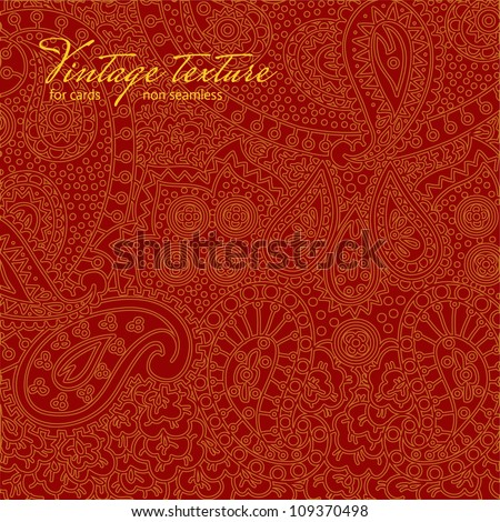 Vintage red paisley texture for cards and design - stock vector