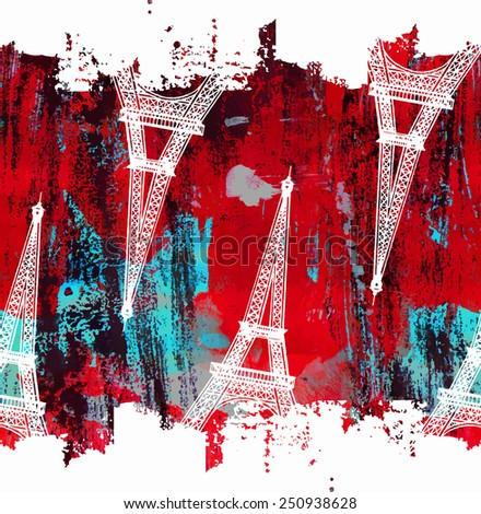 Vintage red pattern with the Eiffel Tower - stock vector