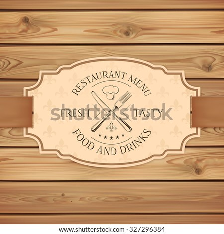 Vintage restaurant, cafe or fast food menu board template. Banner with ribbon on wooden planks. Vector illustration. - stock vector