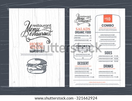 vintage restaurant menu design and wood texture background. - stock vector
