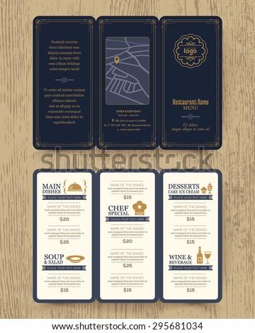 Vintage Restaurant menu design pamphlet vector template in A4 size Tri fold  - stock vector