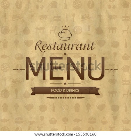 Vintage Restaurant Menu Design, Vector Illustration - stock vector
