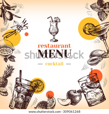 Vintage restaurant menu. Hand drawn sketch cocktails and fruits vector illustration - stock vector