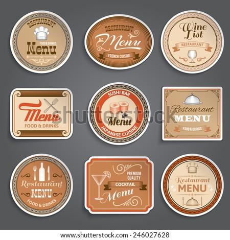 Vintage restaurant menu paper labels design template set isolated vector illustration - stock vector