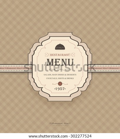 Vintage Restaurant Menu With Chequered Background And Title Inscription