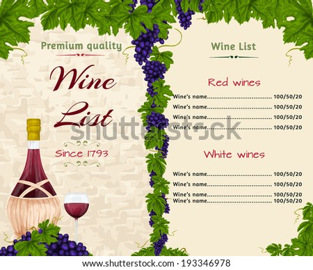 Vintage Restaurant Wine List Card Menu Stock Vector 190333415