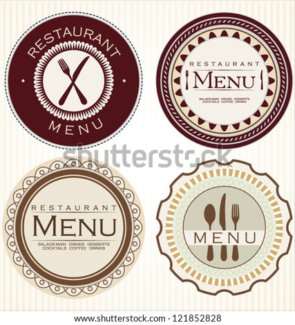 Vintage restaurant stickers - stock vector