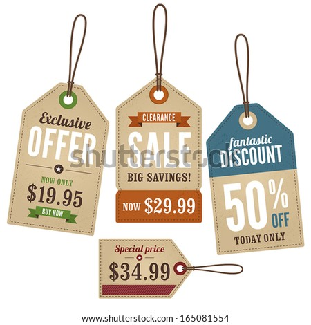 Vintage Retail Swing Tags - stock vector