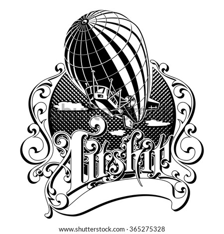 Vintage Retro airship into the air in the box with the inscription vector illustration - stock vector