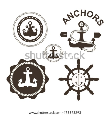 Vintage retro anchor badge and label