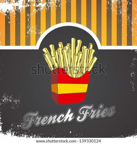 vintage retro art french fries - stock vector
