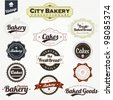 Vintage Retro Bakery Badges And Labels - stock photo