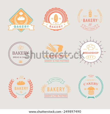 Vintage Retro Bakery Badges,Labels,logos .Colored design elements. Bread, loaf, wheat ear and  cake icons. Vector - stock vector
