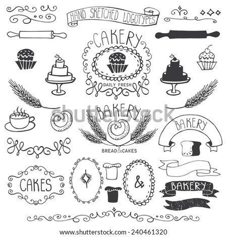 Vintage Retro Bakery Badges,Labels,logos.Colored hand sketched doodles and design elements (bread, loaf, wheat ear, cake icons,border,ribbon). Easy to make logo.Outline Vector - stock vector