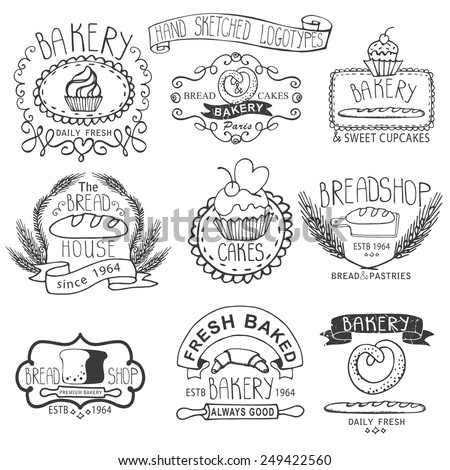 Vintage Retro Bakery Badges,Labels,logos.Outline hand sketched doodles and design elements (bread, loaf, wheat ear, cake icons). Vector - stock vector