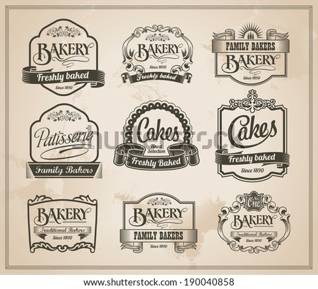 Vintage Retro Bakery Labels and Sign Set - Vector Design - stock vector