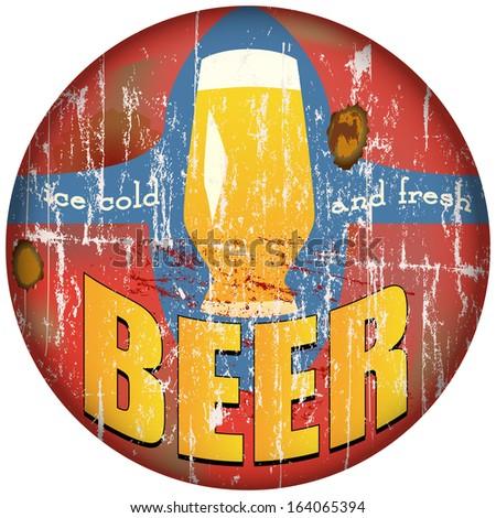 vintage, retro, beer metal sign, vector illustration  - stock vector