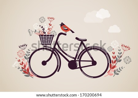 Vintage Retro Bicycle Background with flowers and bird - stock vector