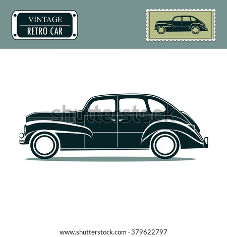Vintage retro car, classic garage sign, oldtimers collection. Vector illustration background. can be used for 