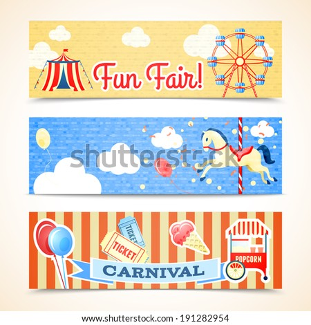 Vintage retro carnival fun fair vertical banners isolated vector illustration - stock vector