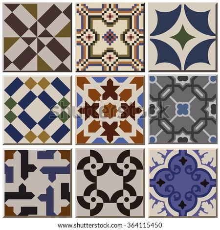 Magnificent 12X12 Floor Tile Patterns Thin 12X24 Ceramic Floor Tile Round 12X24 Slate Tile Flooring 2 X 12 Ceramic Tile Youthful 2 X 8 Glass Subway Tile Blue2X4 Ceiling Tiles Home Depot Vintage Retro Ceramic Tile Pattern Set Stock Vector 364115450 ..