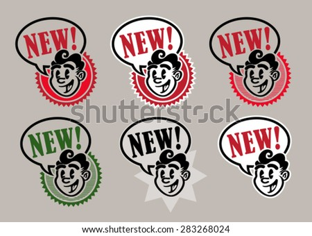 Vintage Retro Character Icons NEW - stock vector