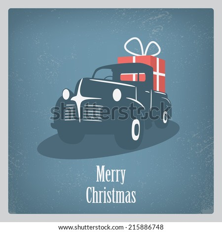 Vintage retro Christmas card design with old car and grunge background. Eps10 vector illustration. - stock vector